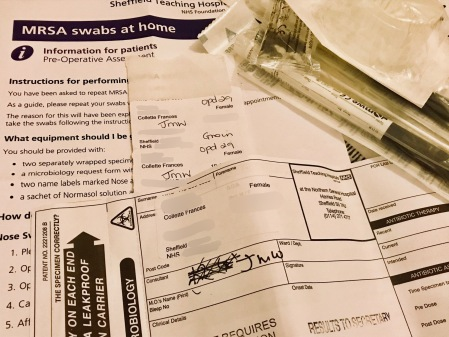 An information leaflet about performing MRSA swabs at home, with swabs and stickers showing the words 'nose' and 'groin'